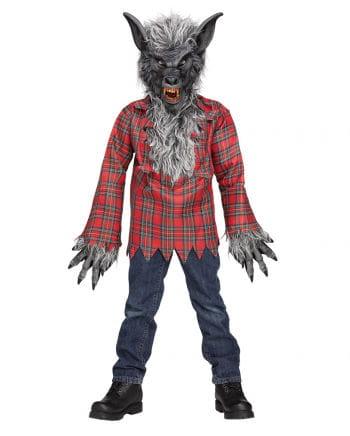Graues Werwolf Kinderkostüm mit Maske L