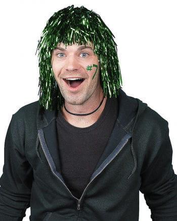 Grüne Folienlametta Perücke