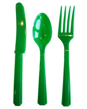 Grünes Plastik Besteck 24-teilig