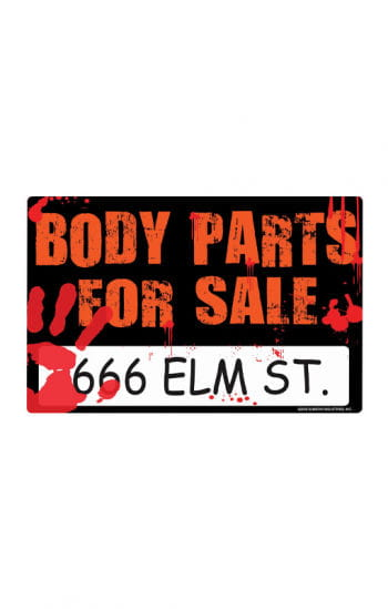 Bloody Halloween Sign Body Parts