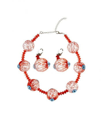 Halskette & Ohrringe mit Augäpfel