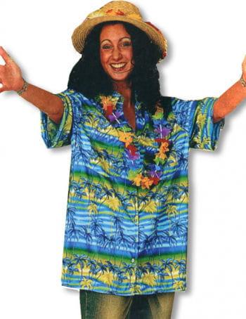 Hawaii Hemd Palmen blau