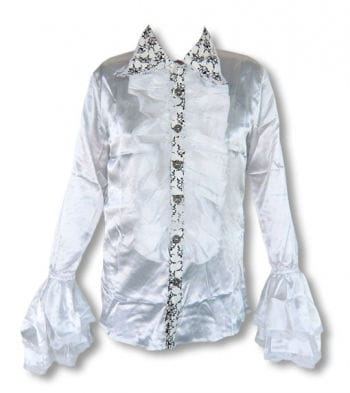 Satin shirt with ruffles white