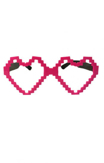 Pink heart glasses pixels