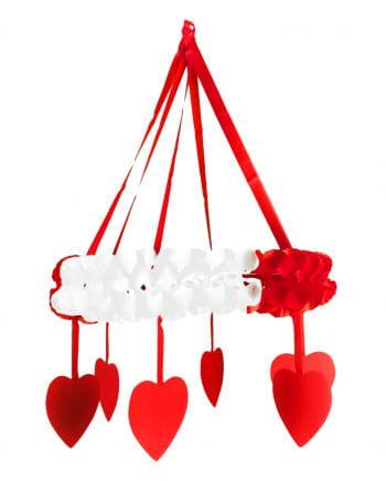 Rot-weiße Herz-Girlande als Kranz
