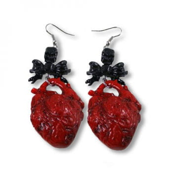 Heart earrings red