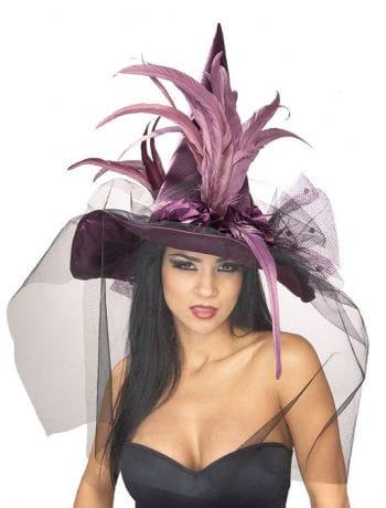 violetter Hexenhut mit Federn