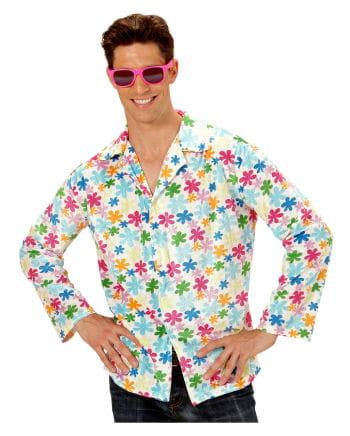 Hippie Hemd weiß mit bunten Blumen Gr. XL