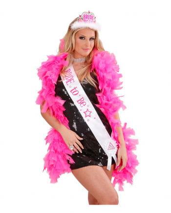 Bachelorette Schärpe weiß/pink