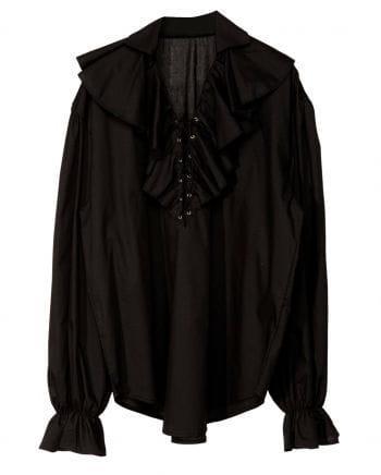 Schwarzes Rüschenhemd mit Schnürung