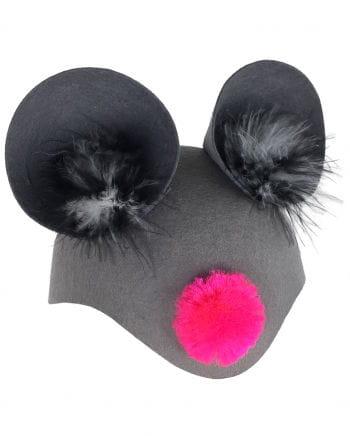 Maus Tierkappe mit pinker Nase