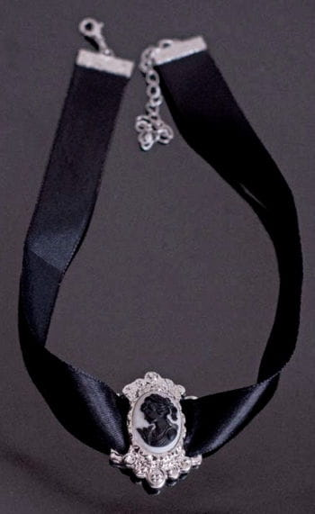 Kamee Halsband schwarz