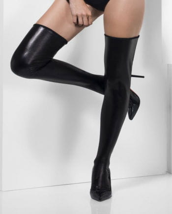 Wet Look Overknees black