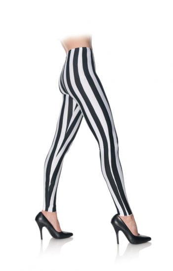 Schwarz weiß gestreifte Leggings
