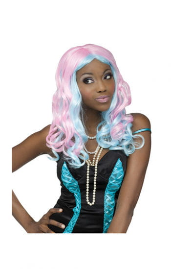 Curly wig pink-blue
