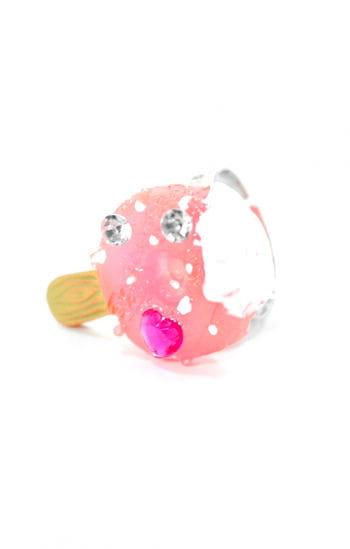 Mädchen Schmuck-Ring mit Erdbeer-Eis Motiv