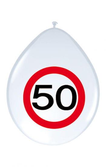 Latex Luftballon Verkehrsschild 50