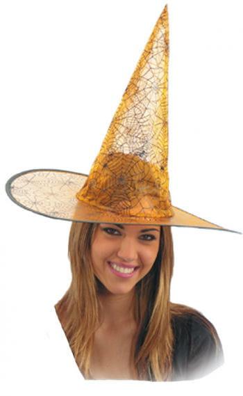 Lurex Witch Hat with halloween pattern orange