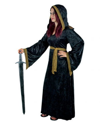 Priesterin Mittelalter Samtkleid mit Kapuze XL / 42
