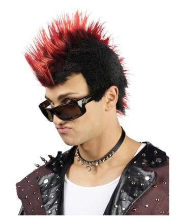 Gesträhnte Punk Perücke rot