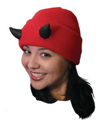 Halloween Strickmütze mit Teufelshörnern