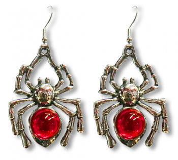 Spinnen Ohrringe mit roten Steinen