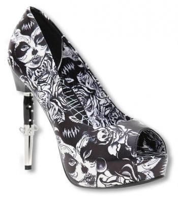 Bella Muerte peep toes black and white