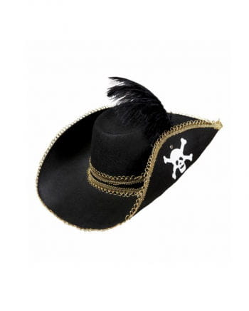 Pirate hat with skull and feather
