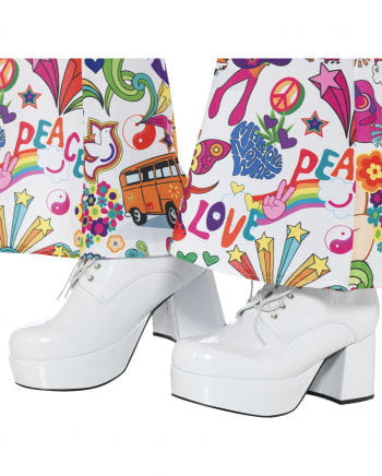 Weiße Herren Disco Plateau Schuhe