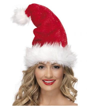 Plush Santa hat with glitter