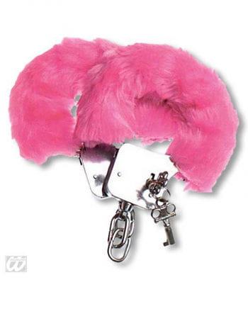 Handschellen mit Plüsch pinkfarben