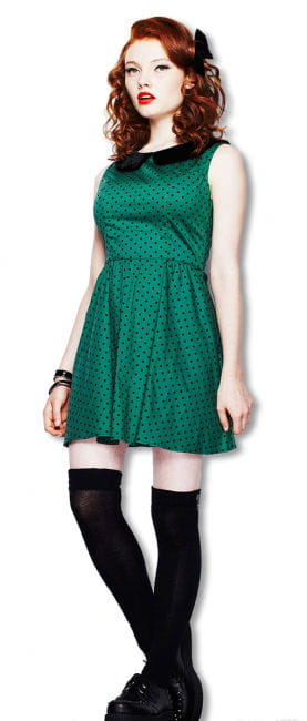 Polka Dot Kleid grün