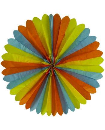 Rosette Fan blue / yellow / orange 60cm