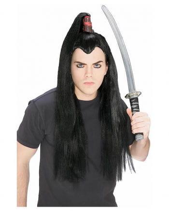 Schwarze Samurai Zopf Perücke