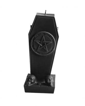 Sarg Kerze mit Pentagramm & Totenköpfe