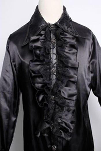 Satin Hemd mit Rüschen schwarz XL