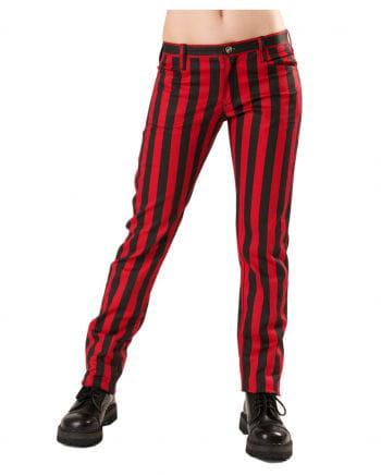 Rot-schwarze Punk Hose mit Streifen