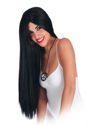 parted Black extra long wig
