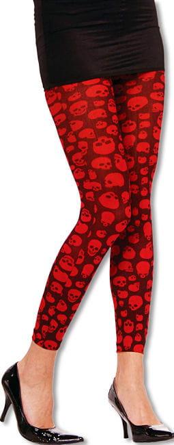 Schwarze Leggings mit roten Totenköpfen