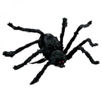 Schwarze Halloween Spinne 116cm