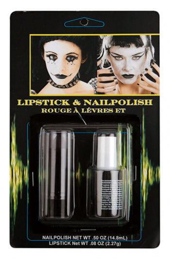 Black Nail Polish and Lipstick Set