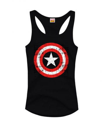 Captain America Girlie Tank Top Black