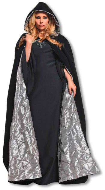 Black velvet cape with silver lining
