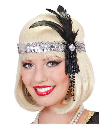 Flapper Headband silver with black feather