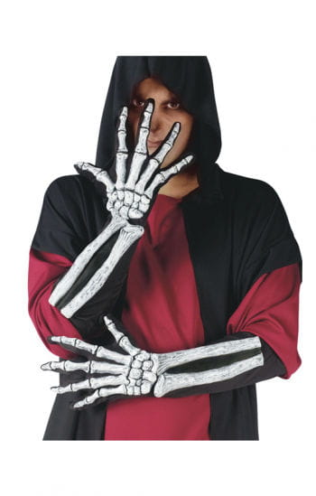 3D skeleton gloves white
