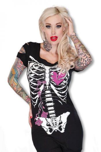 Skelett Shirt schwarz