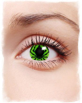 Grüne Kontaktlinsen mit Spinne