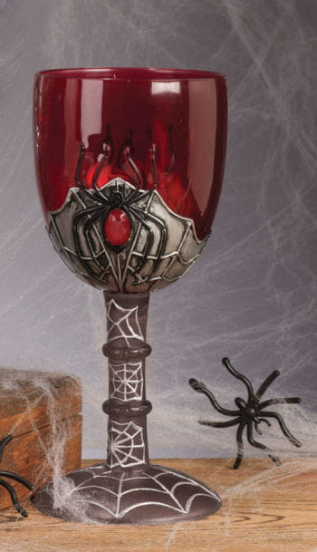 Spinnweben Weinglas rot