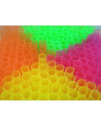 Neonfarbene Trinkhalme 100 Stück