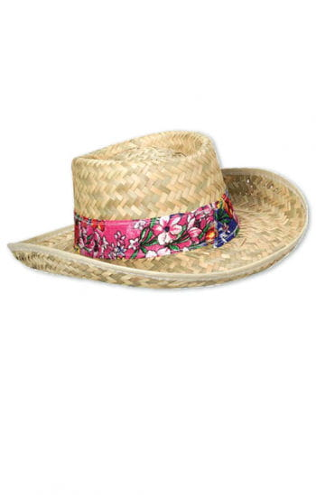 Straw hat with flower belt